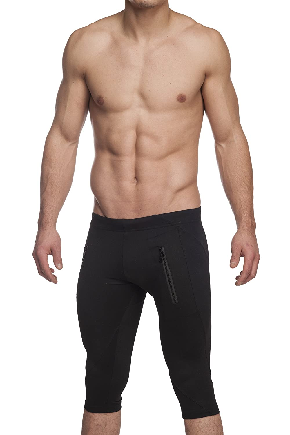 Gary Majdell Sport Men's Active Yoga Capri Pant Front Zipping Pockets 8736