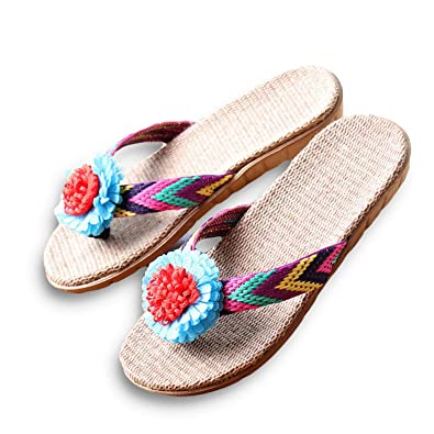 Women Linen Slippers Flower Ribbon Sandals Health Straw Lady Beach Shoe Blue