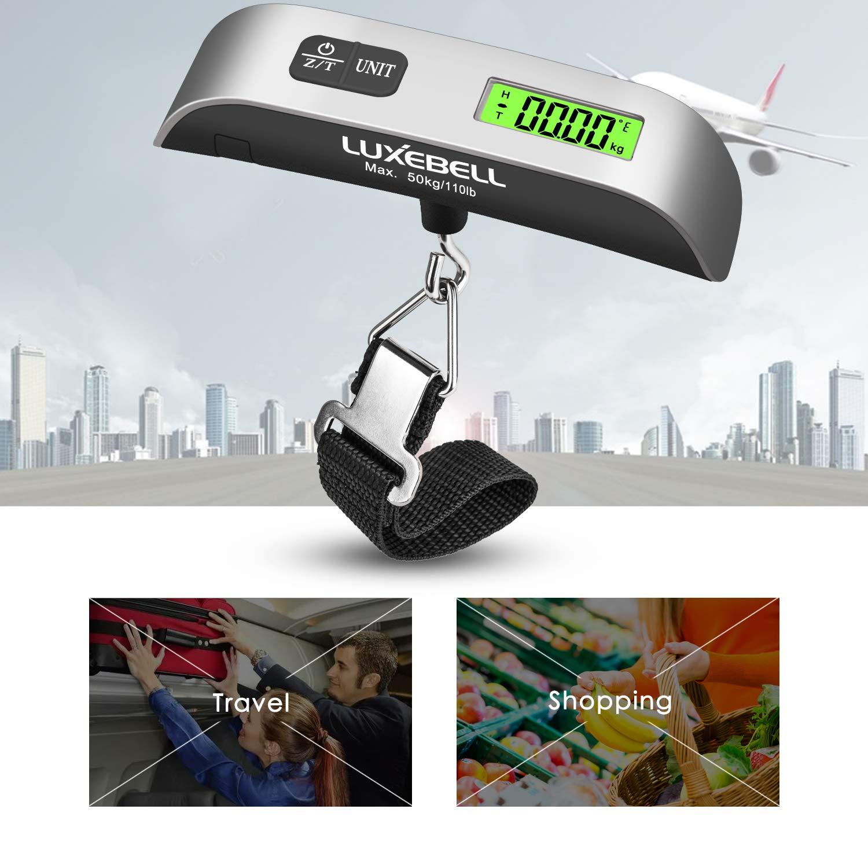 Luxebell/® P/èse Bagage Num/érique 50kg Max LCD Vert R/étro-clair/é pour Voyage Shopping Garantie 2 Ans Pile Fournie Gris