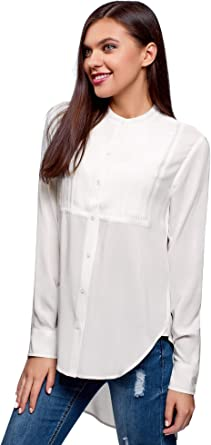 oodji Ultra Mujer Blusa de Viscosa con Espalda Larga: Amazon.es: Ropa y accesorios