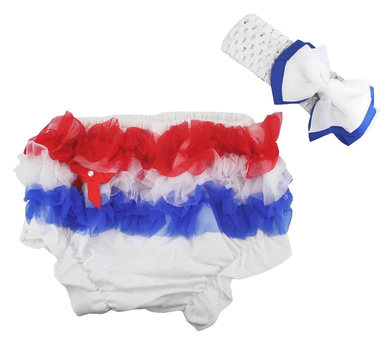 Hot Pink White Chevron Striped Satin Bloomer Panty Baby Clothing Headband 6-24m