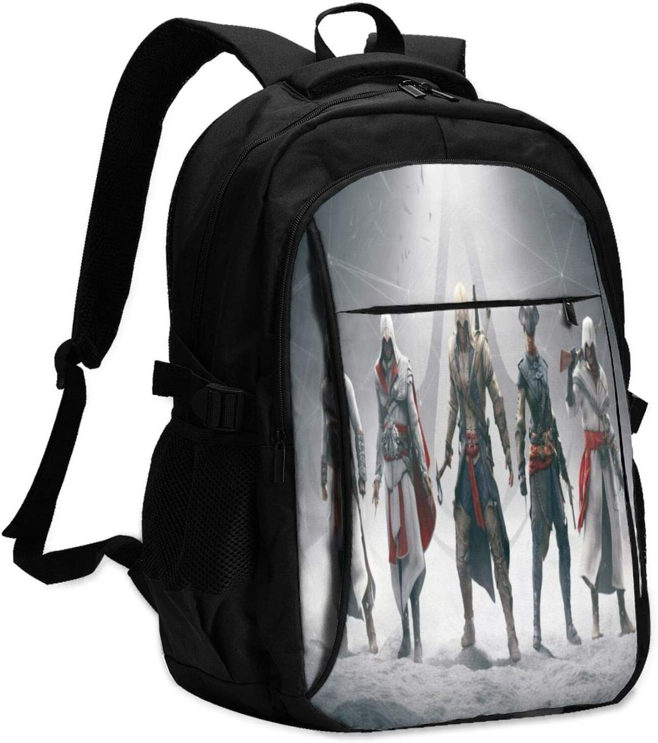 Game Theme Combat Handsome Assassin's Creed Laptop Backpack Anti Theft Water Resistant Durable Computer Bag USB Charging Port Fits 15.6 Inch Laptop and Notebook College School Business Travel