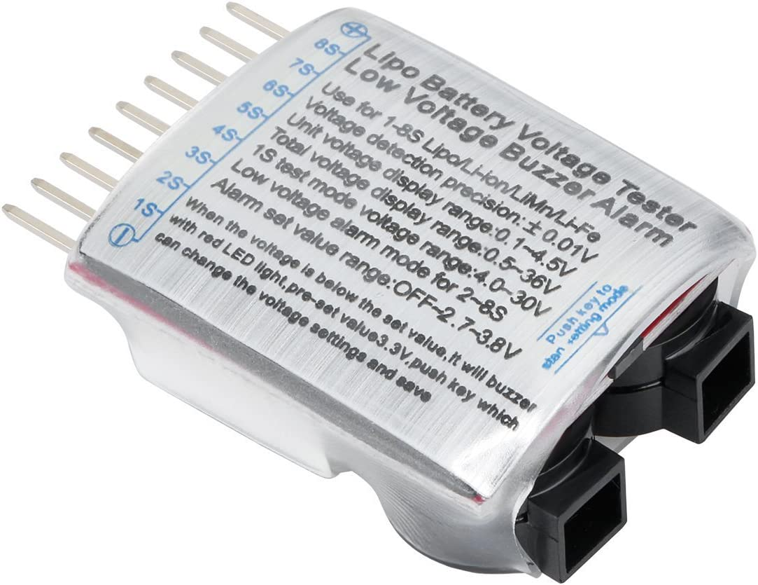 HappyCow 1-8S LED Low Voltage Buzzer Alarm Lipo Battery Voltage Indicator Detector Checker Tester