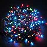 Excelvan 131ft 300 Led Multi Coloured Battery Operated 8 Lighting Modes Indoor Outdoor Waterproof Fairy String Lights for Christmas Decorations Tree Xmas Wedding Garden Built in Set-and-forget Timer
