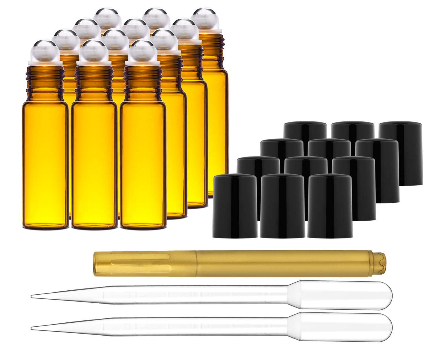 Culinaire 12 Pack Of 10 ml Amber Glass Bottles with Stainless Steel Roller Balls Caps 2x 3 ml Droppers with Gold Glass Pen included