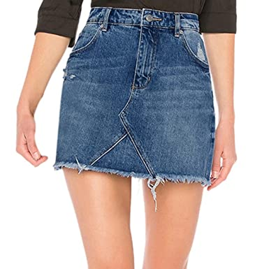 Damen Frauen Rock Denim Knielang Hohe Taille Kurz Sommer Cocktail Jeans