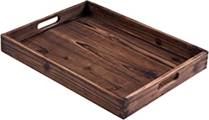"Serving Tray – Crafted from Fir Wood and with Two Handles – 16.5"" X 12.5"" with 2"" Tray Depth"