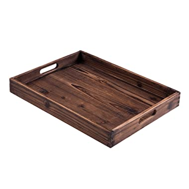 """Lanperle Serving Tray – Crafted from Fir Wood and with Two Handles – 16.5"""" X 12.5"""" with 2"""" Tray Depth"""