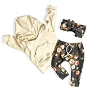 Baby Girls Clothes Long Sleeve Hoodie Sweatshirt Floral Pants with Headband 3Pcs Outfit Sets (Yellow, 12-18 Months)