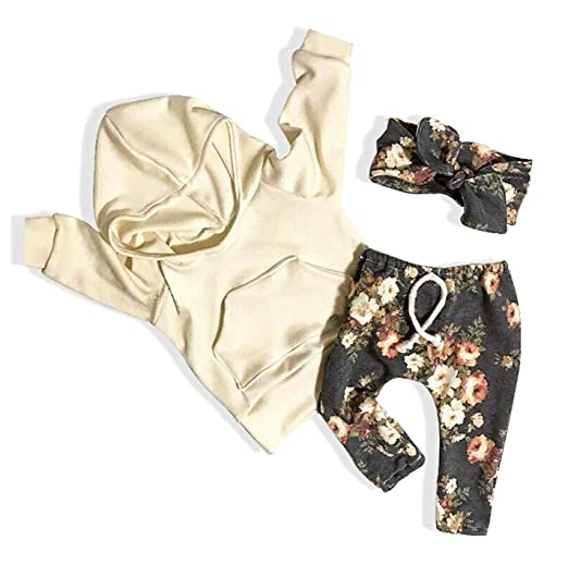 10bee3df2dcc6 Baby Girls Clothes Long Sleeve Hoodie Sweatshirt Floral Pants with Headband 3Pcs  Outfit Sets (Yellow