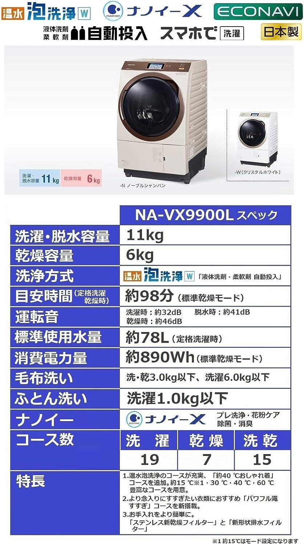 パナソニック ななめドラム洗濯乾燥機 11kg ドラム式洗濯機 NA-VX9900L-N