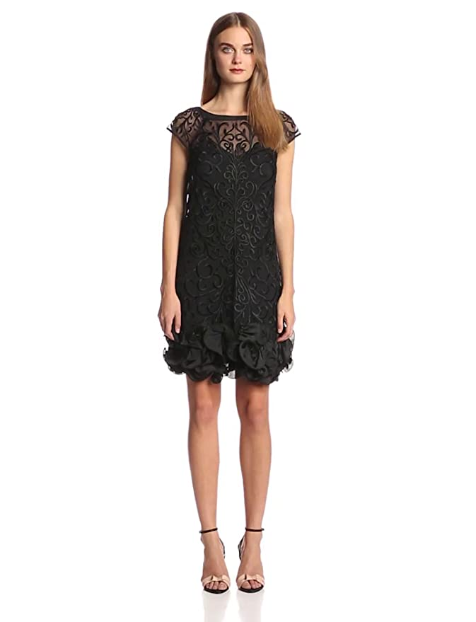 d10a890ab8c Jessica Simpson Women s Short Sleeve Lace Ruffle Hem Dress