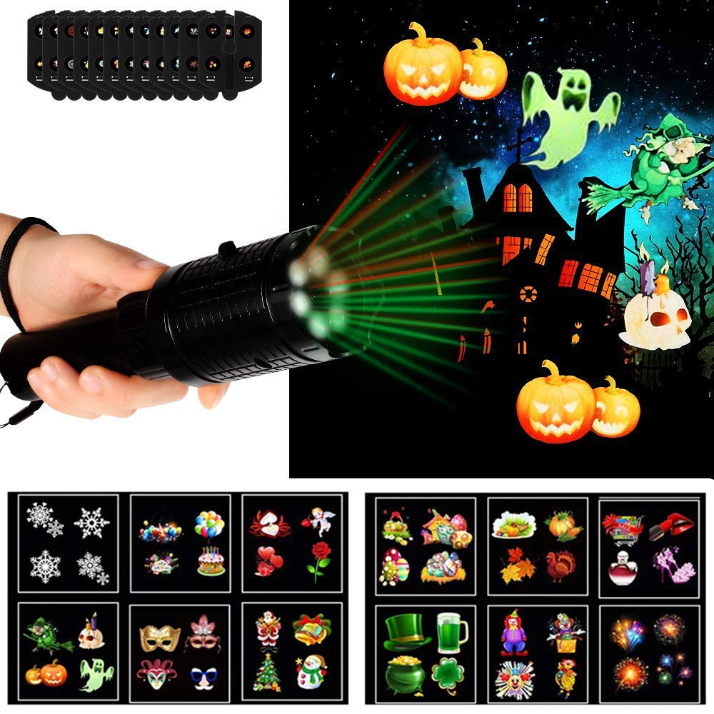 Halloween Projector Lights,Handheld LED Projector Lights,12 Slides Projection with Tripod, Holiday Lights Battery-Operated 2 in 1 Decoration Light & Kids Handheld Flashlight for Christmas, Halloween, Easter, Birthday,Home Party,Holiday Decoration Uolo