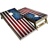 BackYardGamesUSA American Flag Series - Premium Cornhole Boards w Cupholders and a Handle - Includes 2 Regulation 4' x 2' Cor