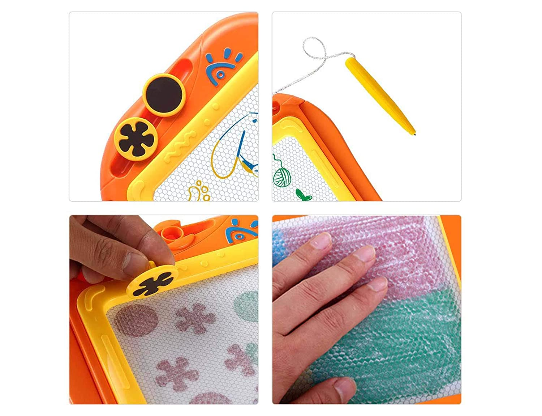 Orange EEDAN Magnetic Drawing Board Games Toys for Kids Gift for Little Girls Boys Kids Children Travel Size Erasable Colorful Magna Doodle Sketch Tablet Education Writing Pad