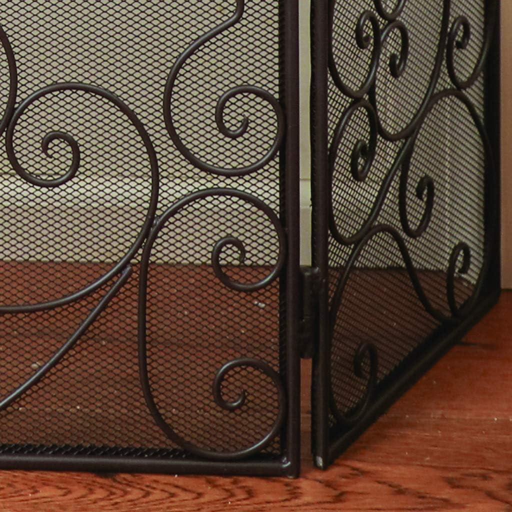 Country Farmhouse marrone antico lusso Fire Screen Guard con dettaglio a forma di cuore scroll/ animali domestici e bambini con Open incendi/&nbs /lusso vintage stile tradizionale ferro camino e Spark schermo per mantenere al sicuro tappeti