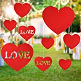 KUUQA 28 Pieces Valentine's Lawn Decorations Valentine's Day Hanging Hearts for Valentine' Day Decoration Wedding and Party S