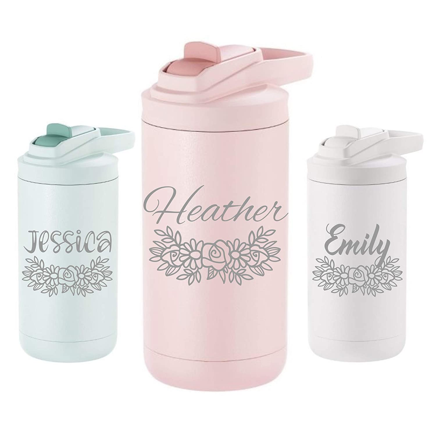 Personalized Floral 12oz Kids Insulated Steel Tumbler 41 Fonts