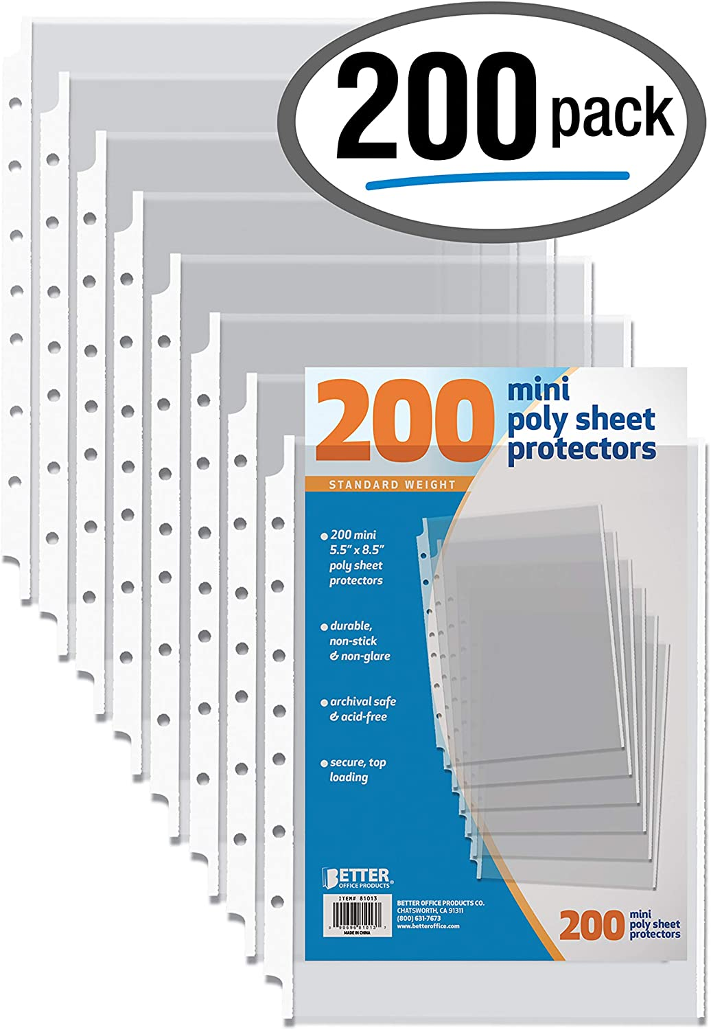 """200 Count Mini Poly Sheet Protectors, Standard Weight, Diamond Clear, by Better Office Products, 5.5"""" x 8.5"""", 200 Pack"""