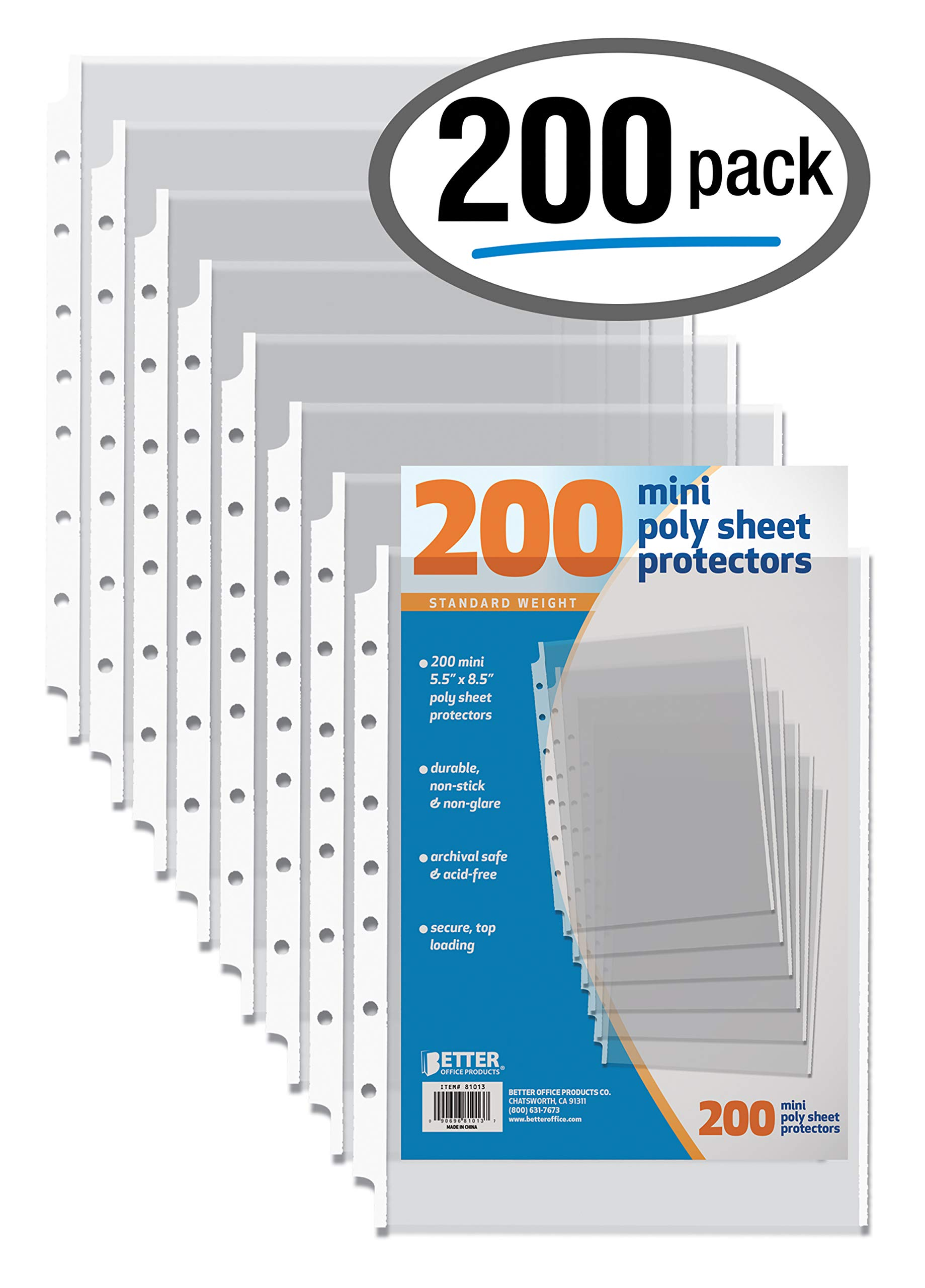200 Count Mini Poly Sheet Protectors, Standard Weight, Diamond Clear, by Better Office Products, 5.5'' x 8.5'', 200 Pack by Better Office Products