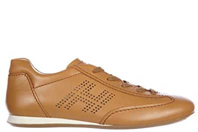 Hogan Women's Shoes Leather Trainers Sneakers Olympia h bucata Brown US  Size 5 HXW05200041D0W9990