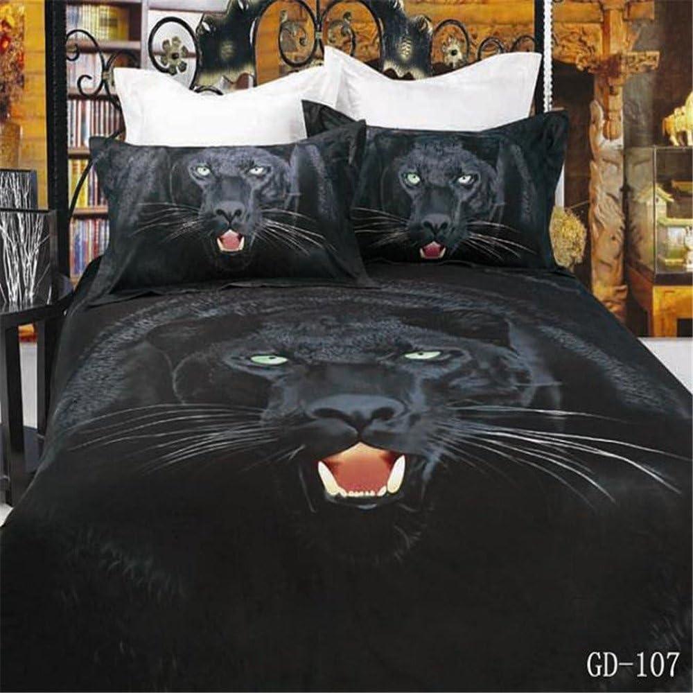 HyUkoa 3D Black Panther Pattern Bedding Sets 4 Piece(1pc Duvet Cover+1pc Flat Bed Sheet+2pc Pillowcase) Queen Size