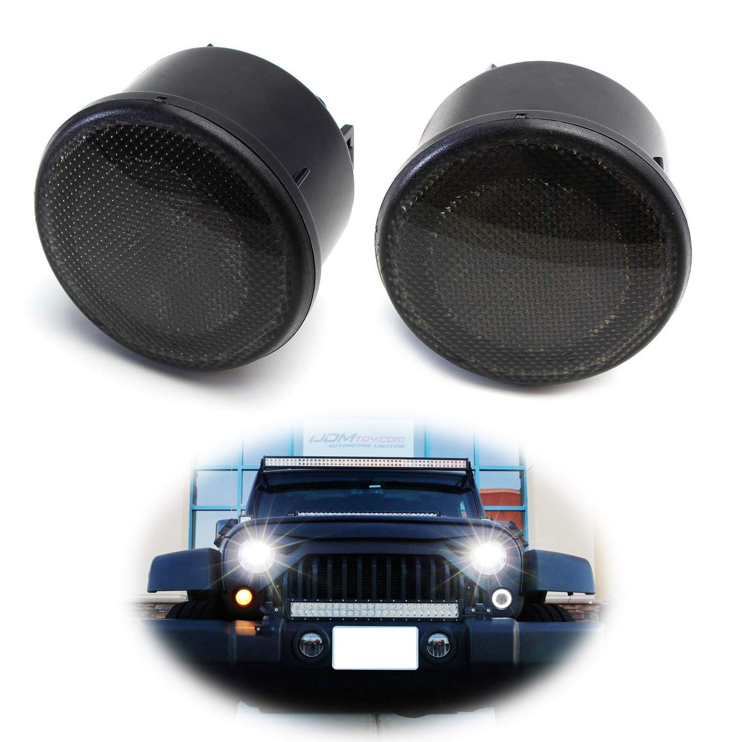 iJDMTOY (2) Smoked Lens LED DRL Turn Signal Assembly Compatible For 2007-17 Jeep Wrangler (White LED Halo Ring as Daytime Running Lights & Amber LED Center Light as Turn Signals) iJDMTOY Auto Accessories Front Bumper Blinker Signal Light Assy