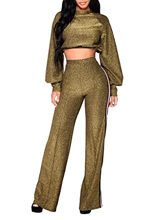 75e8569d3b9 Pink Queen Womens Ballon Sleeve Crop Top Wide Leg Pants Night Club Matching  Set Gold Small