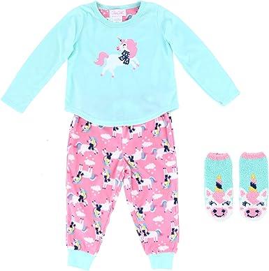 Infant//Toddler 4 Piece Snug Fit Long Sleeve T-Shirt and Jogger Sweatpants Rene Rofe Baby Girls Pajama Set