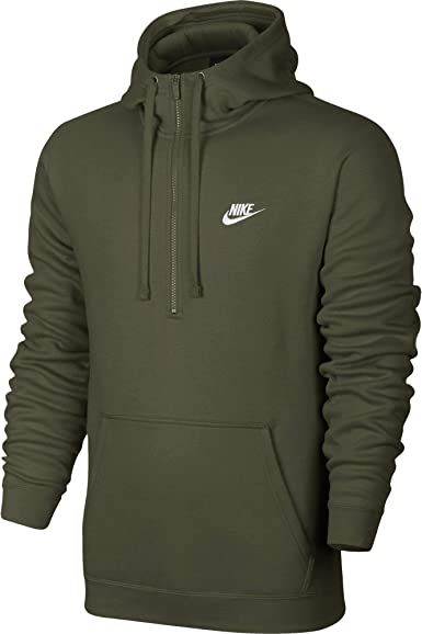 Fácil de comprender siete y media Limón  Nike NSW Club Men's Fleece Half-Zip Pullover Hoodie Olive Green 812519-395  (Size XS) at Amazon Men's Clothing store