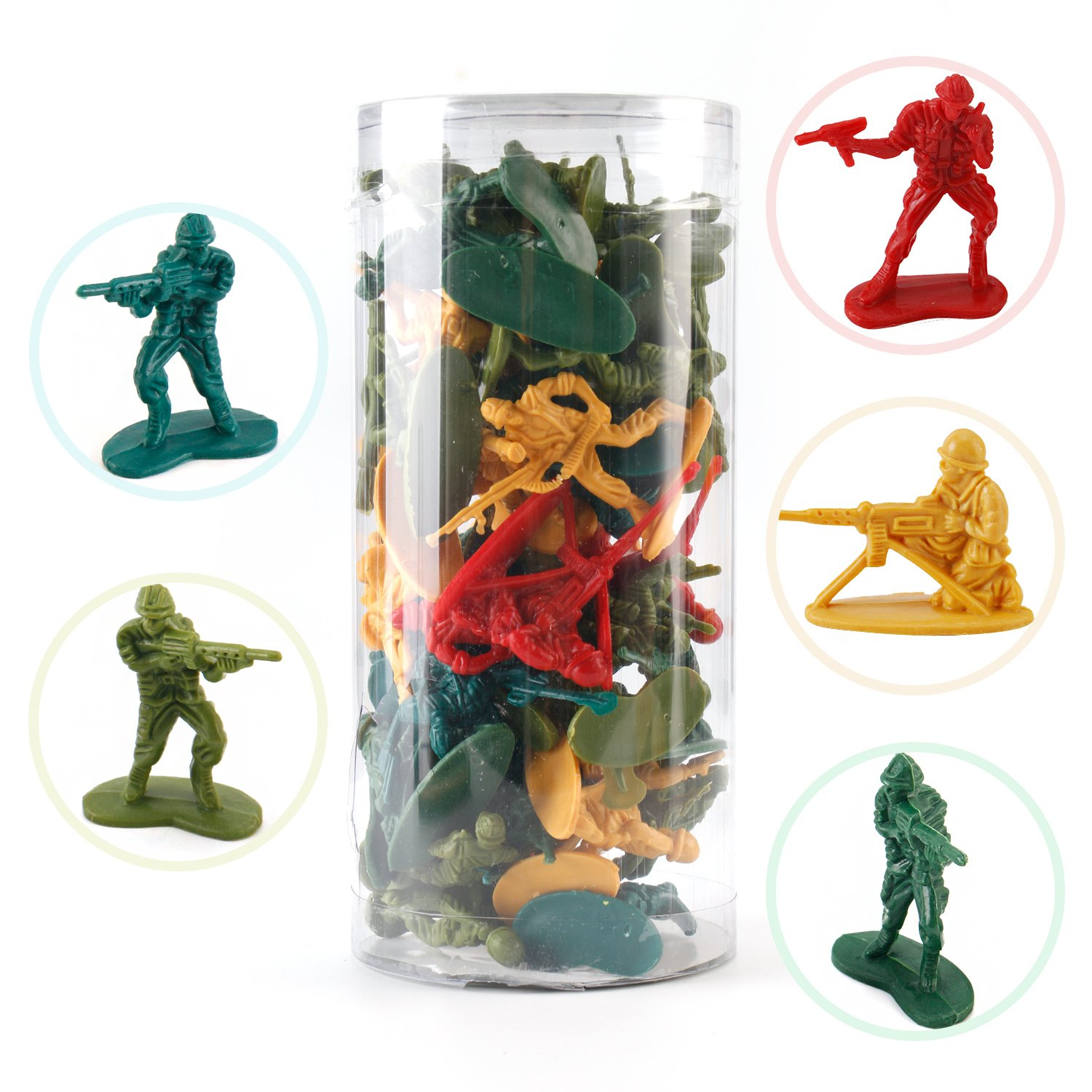 Liberty Imports 12 Tubes of Action Figures Army Men Soldiers in Mini Buckets Bulk Kids Toy Party Favors Supplies