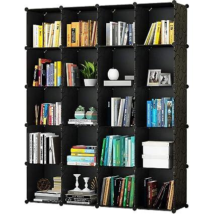 KOUSI Portable Storage Shelf Cube Shelving Bookcase Bookshelf Cubby Organizing Closet Toy Organizer Cabinet Black