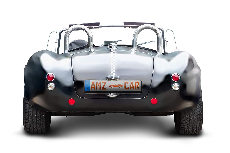 Nummernschildhalter schwarz der 4 Generation MODEL 2019 Made in Germany 2 St/ück AMZ CAR Vibrationsschutz Neuste Kennzeichenhalter Auto Mit Schrauben