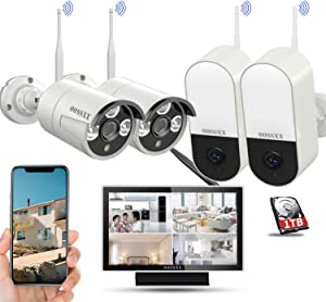 Outdoor Wireless Home Security Camera System with 10inch Monitor Screen,Wireless Video Surveillance Security Camera System,2Pcs Wireless Floodlight Cameras and 2Pcs Wireless IP Cameras with Audio