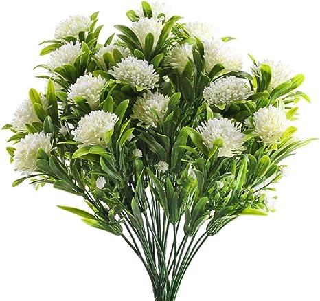 Amazon Com Gtidea Artificial Faux Hydrangea Bush Fake Flowers Arrangement Home Wedding Bouquet Table Centerpieces Party Decoration Pack Of 4 White Home Kitchen