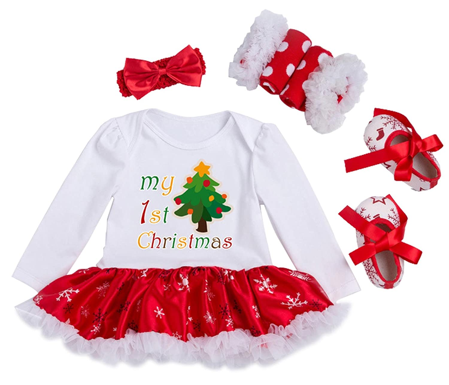 Newborn Baby Girls My First Christmas Costume Party Dress Tutu Outfits Jumpsuit Christmas Socks Pattern for 0-3 Months YK&Loving