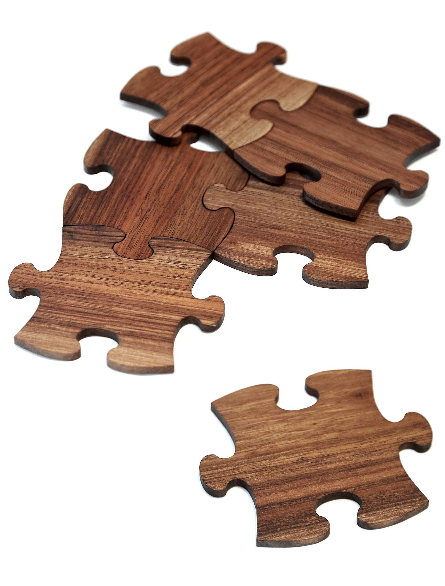 Mr.Art Wood Wooden Puzzle Drink Coasters (Set of 6), 100% Natural One-Piece Walnut Wood, Ultimate Protection for Furniture - Easy Assembly into One Big Coaster For Large Items