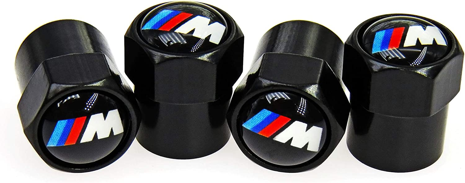 4 Pack AMG Tire Valve Caps Black Brass Air Dust Covers Universal Fit Car,Truck,SUV,Motorcycle,Bike,Hexagon Easy-Grip Leakproof Airtight Outdoors