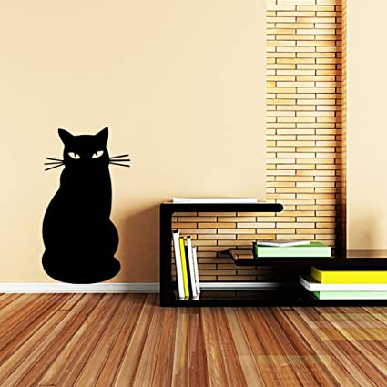 Pegatinas de pared 3D gato negro dibujos animados pegatinas ...