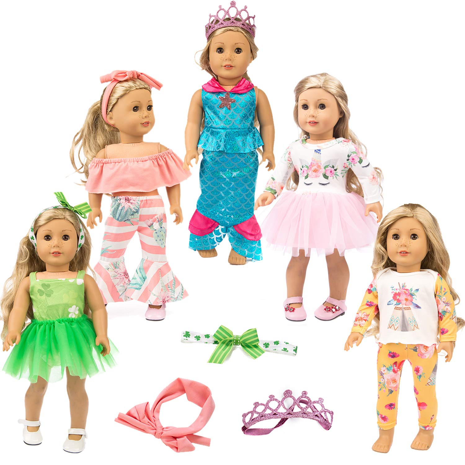 ZITA ELEMENT 11 Pcs Clothes Outfits for American 18 inch Girl Doll Cosplay | Unicorn Pattern Dress, Indian Style Pajamas, Strapless Clothes, Clover Skirt, Mermaid Outfits for 18' Dolls