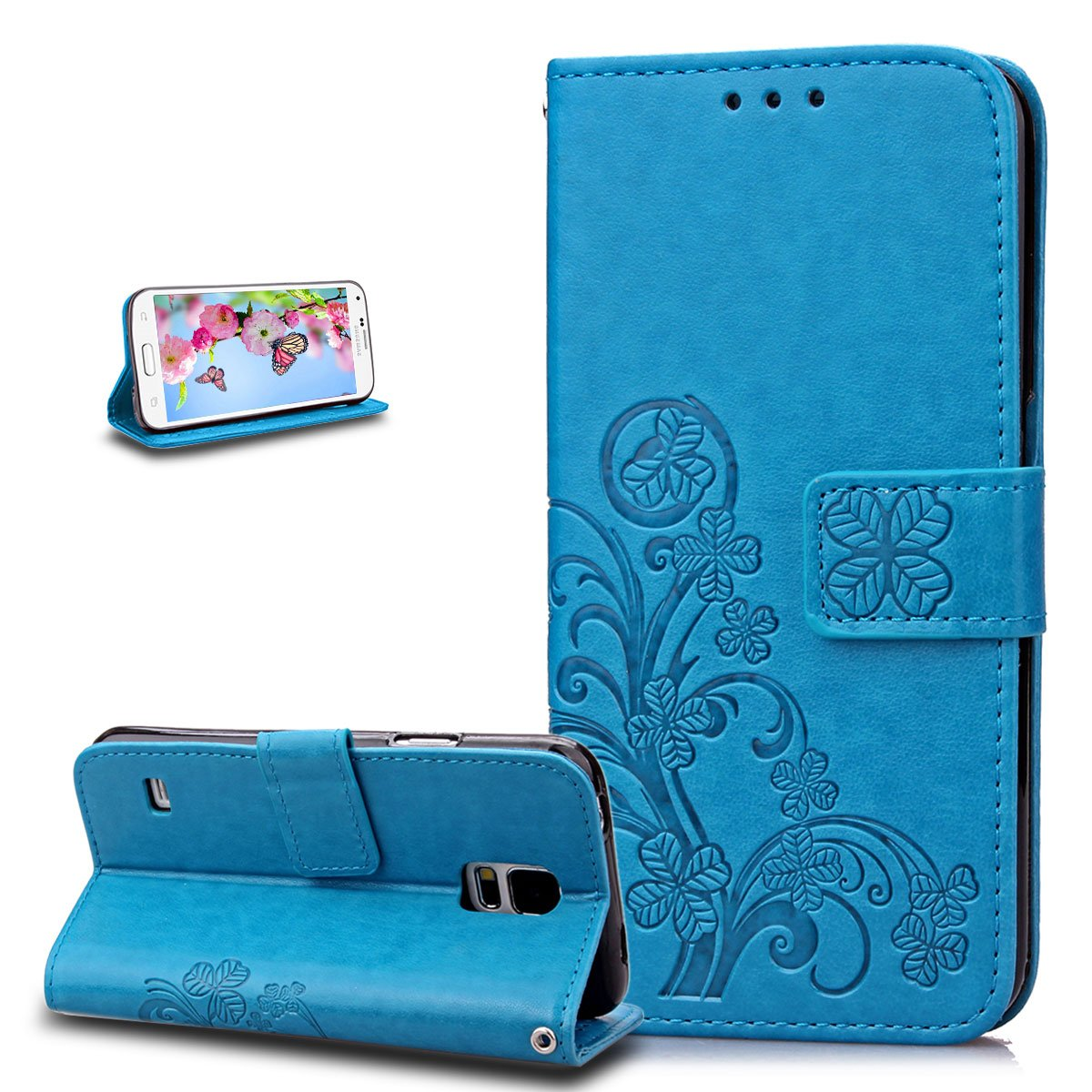 Galaxy S5 Mini Case, Wallet Case for Galaxy S5 Mini, ikasus Embossing Clover Flower PU Leather Fold Wallet Pouch PU Leather Wallet Flip Stand Credit Card Holders Case Cover for Galaxy S5 Mini, Blue