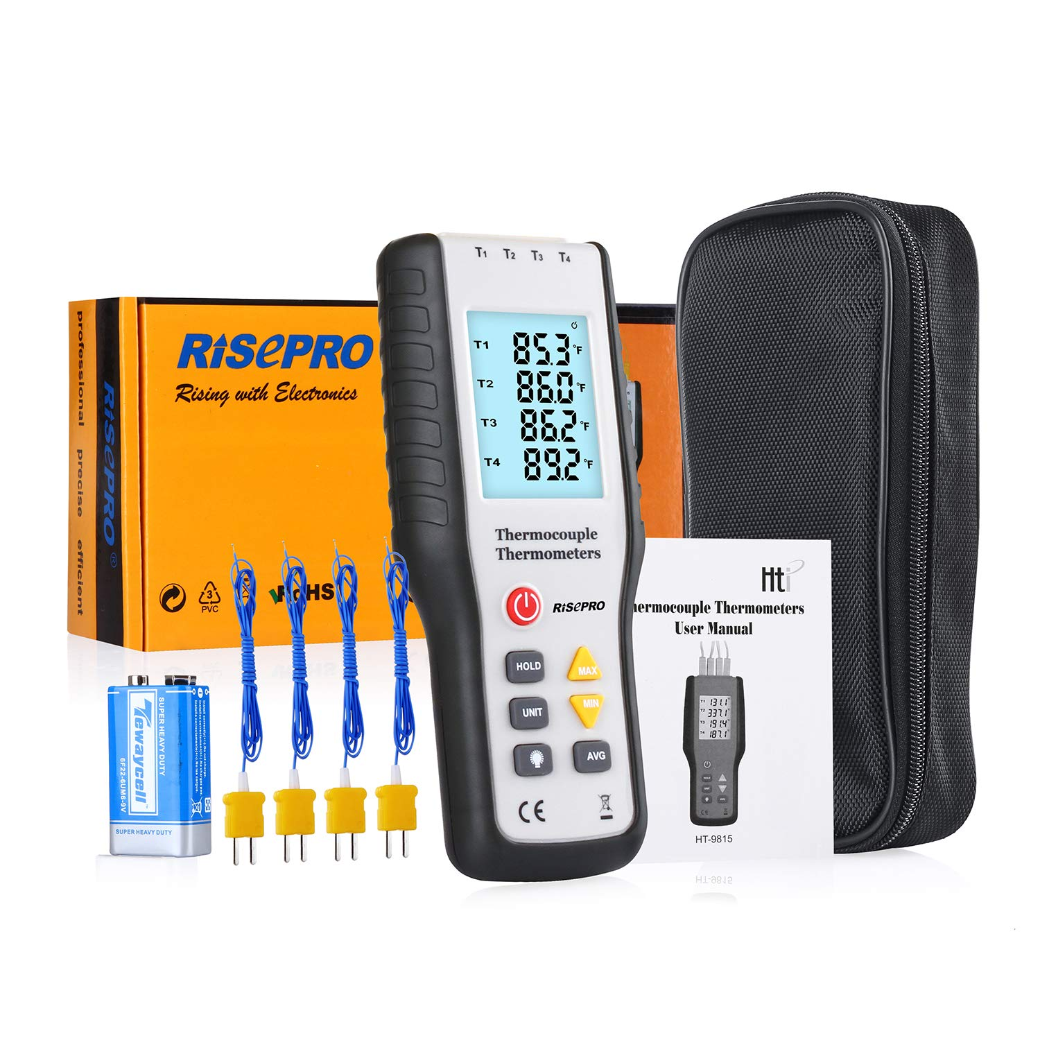 Thermocouple Thermometer, RISEPRO 4 Channel K Type Digital Thermometer Thermocouple -200~1372°C/2501°F Sensor HT-9815: Amazon.com: Industrial & Scientific