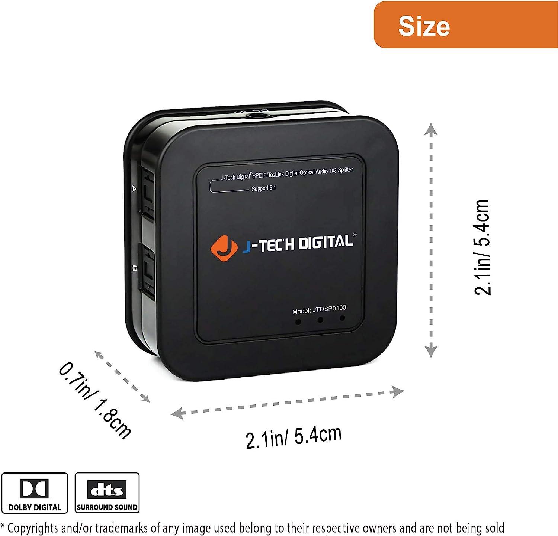 j-tech Digital Premium Qualit/ät SPDIF Toslink digitalen optischen 3/x 1/Switch mit Fernbedienung Drei Eing/änge One Ausgang