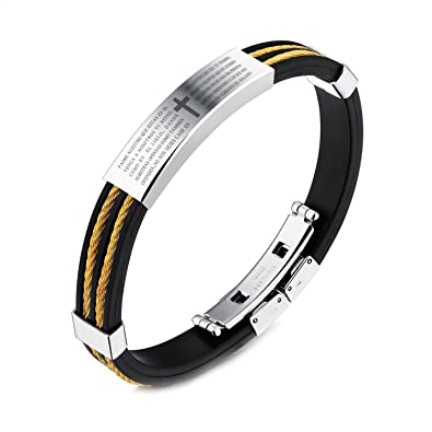 Amazon Com Jsea Mens Black Silicone Stainless Steel Lord S Prayer