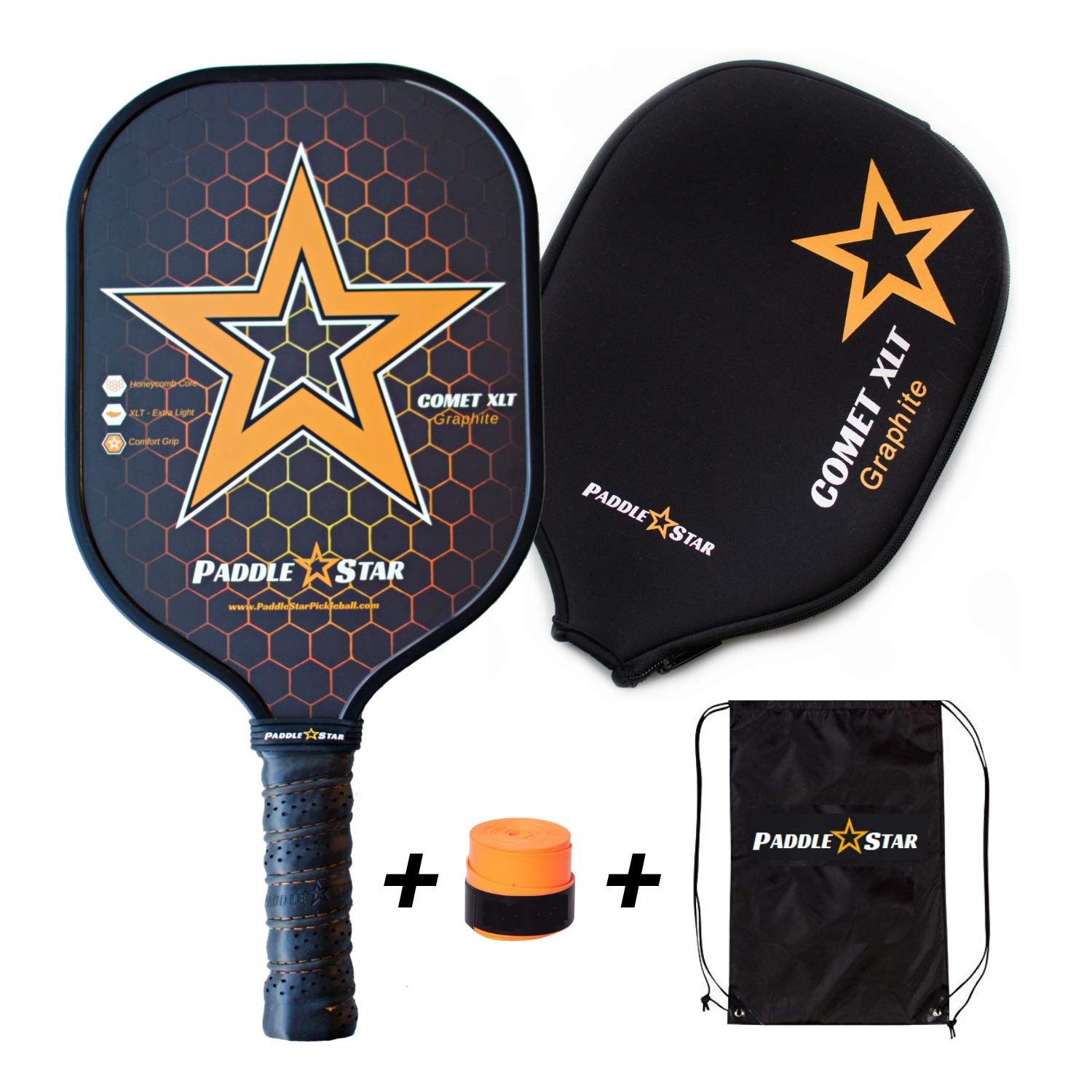Paddle Star Comet XLT Graphite Pickleball Paddles - Polymer Honeycomb Core w/Comfort Grip for Elite Ball Control, Spin & Power - Premium 7.5 oz Set Includes Racket Cover, Overgrip, Bag & Gift Box by Paddle Star