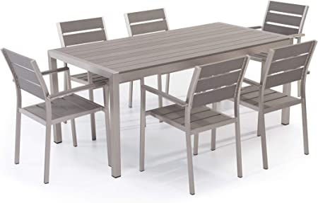 Set di Tavolo e sedie da Giardino in Alluminio e Legno Sintetico Grigio VERNIO