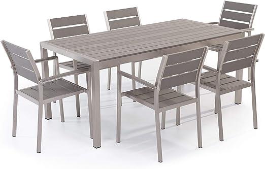 Beliani Juego de Muebles de jardín Aluminio Gris – Mesa 180 cm – 6 ...