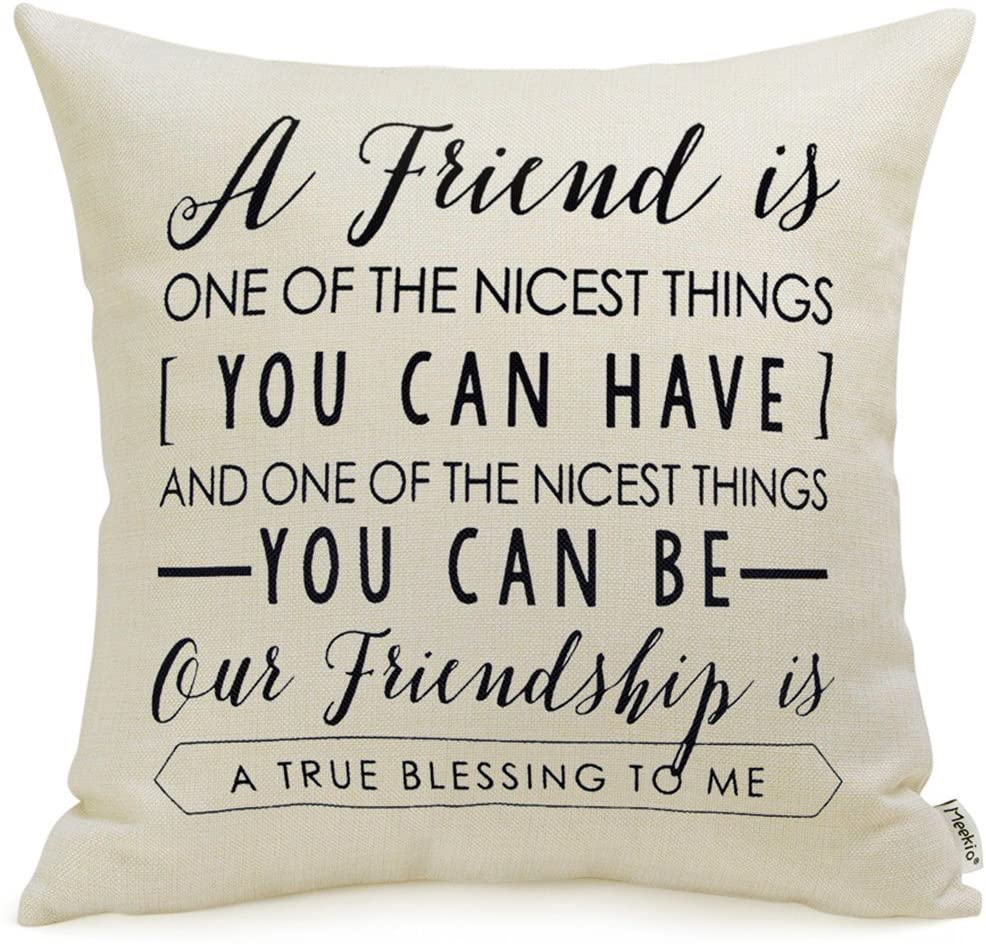 Amazon Com Meekio Friendship Gifts Decorative Throw Pillow Covers 18 X 18 With Friend Quotes Home Kitchen
