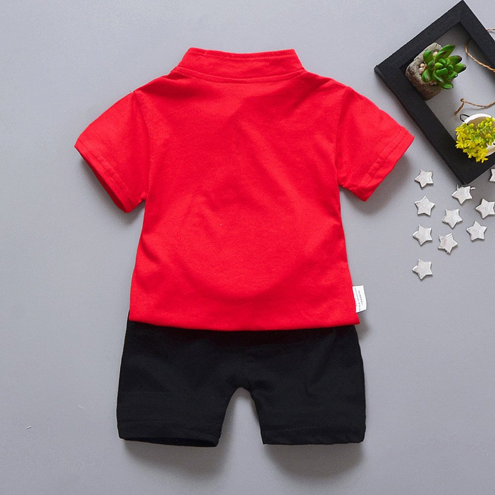 Shorts Outfits Outfit Set Fenleo Toddler Kids Baby Boys Face Embroidery Traditional Chinese Garments Tops