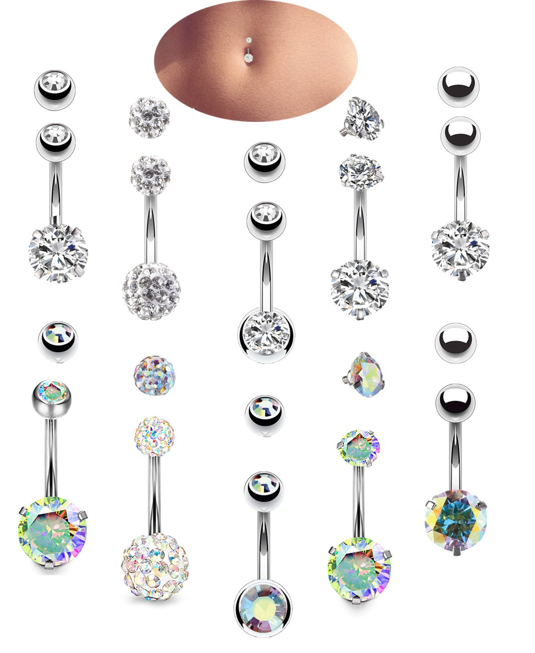 Engagement & Wedding Jewelry & Watches Rainbow Cz Top Drop Dangle Silver Surgical Steel Navel Belly Button Ring Terrific Value